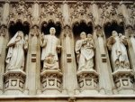 Four 20th Century martyrs: Mother Elizabeth of Russia, Rev. Martin Luther King, Jr., Archbishop Oscar Romero, and Pastor Dietrich Bonhoeffer. West door of the Westminster Abbey.