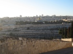Modern day Jerusalem from the Mount of Olives.  Jesus might have traveled a road like this one on his way into the city.