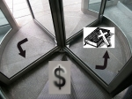 Revolving door - God out and shopping in